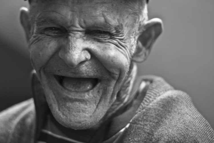 laughing older man